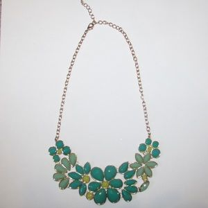Blue/green and gold Francesca's statement necklace